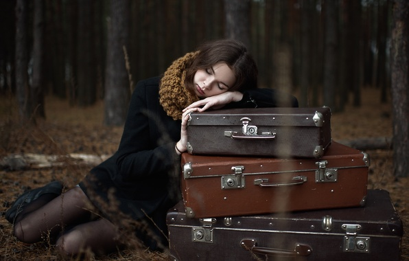 Picture autumn, forest, girl, trees, loneliness, the situation, the evening, brunette, coat, Luggage, suitcases
