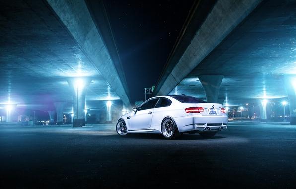Picture white, bridge, BMW, BMW, white, rear, E92