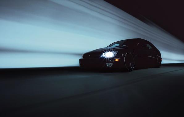 Picture black, Lexus, black, tuning, Lexus, is300, in motion