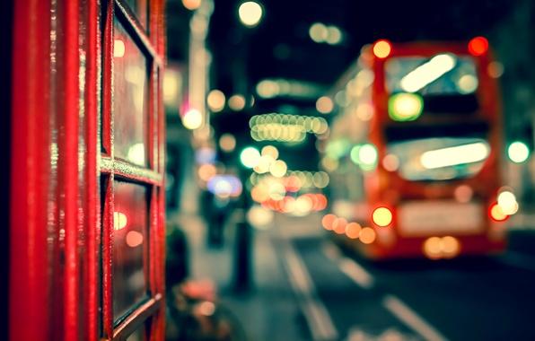 Picture road, macro, night, the city, lights, England, London, UK, bus, bokeh, London, England, Great Britain