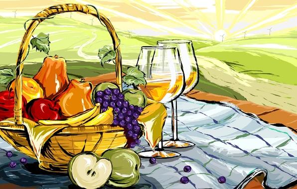 Picture landscape, wine, apples, figure, glass, food, vector, grapes, fruit, still life, basket, pear