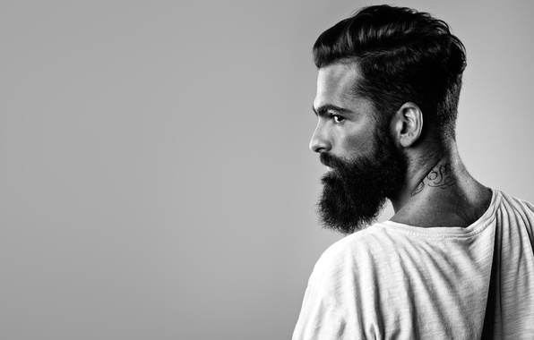 Picture pose, tattoos, beard