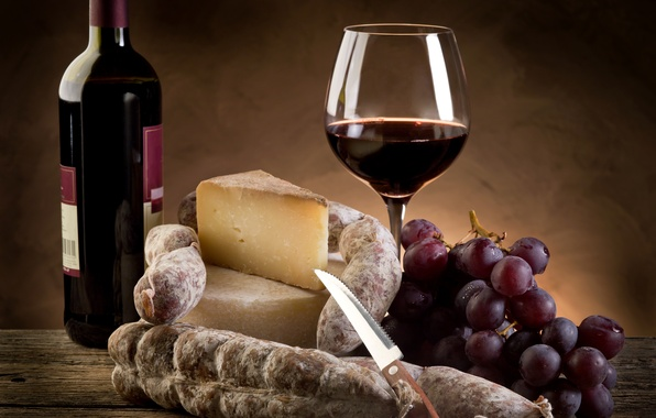 Picture wine, red, glass, bottle, cheese, grapes, knife, sausage, Parmesan