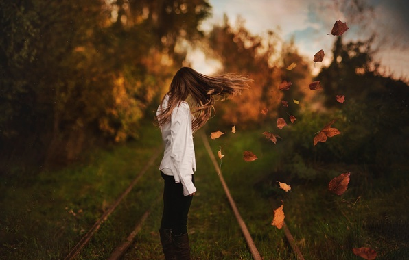 Picture autumn, leaves, girl, the wind, hair, bokeh