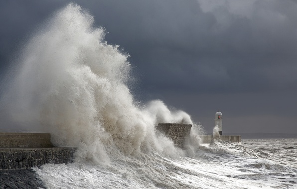 Picture sea, wave, lighthouse