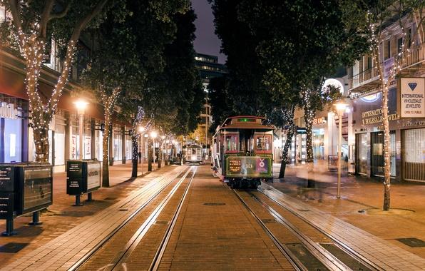 Picture road, night, lights, lights, tree, CA, San Francisco, iron, tram, USA, USA, night, Francisco, San, …