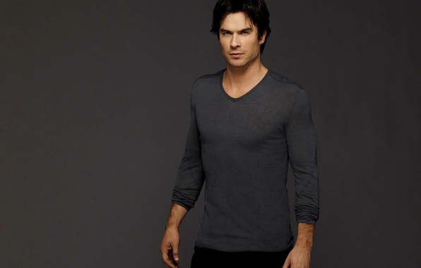 Picture grey, background, actor, male, the series, The Vampire Diaries, The vampire diaries, Ian Somerhalder, brunette, …
