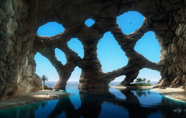 Picture sand, sea, palm trees, fiction, rocks, people, art, arch, the grotto, cell