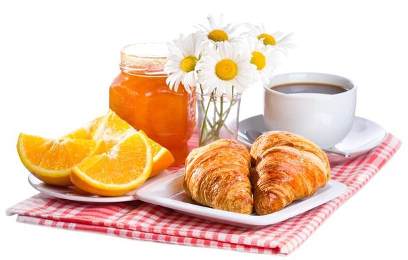 Picture flowers, coffee, food, Breakfast, fruit