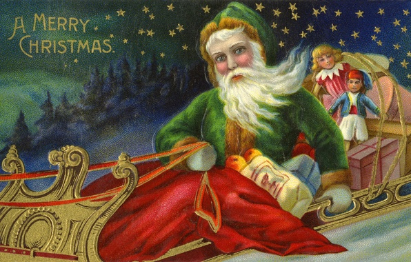 Picture toys, stars, gifts, sleigh, Santa Claus, Santa Claus, postcard