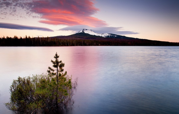 Picture landscape, sunset, mountains, nature, lake, tree