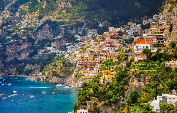 Picture sea, coast, building, boats, slope, Italy, Bay, Italy, Campania, Amalfi Coast, Positano, Positano, Gulf of …