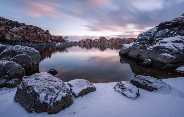 Picture winter, lake, sunrise, morning, Arizona, Prescott, Watson Lake