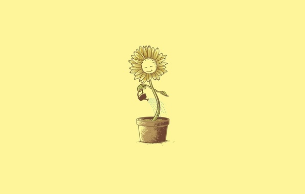 Picture Minimalism, Art, A Flower In A Pot, Humor