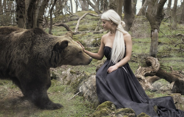 Picture girl, the situation, bear
