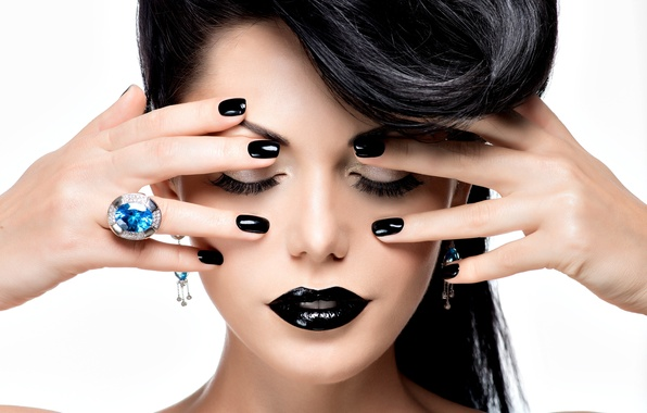 Picture background, model, hair, hands, makeup, ring, hairstyle, closed eyes