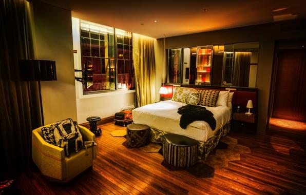 Picture design, room, Windows, bed, interior, TV, mirror, bedroom