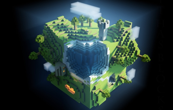 Picture world, game, minecraft, cubes