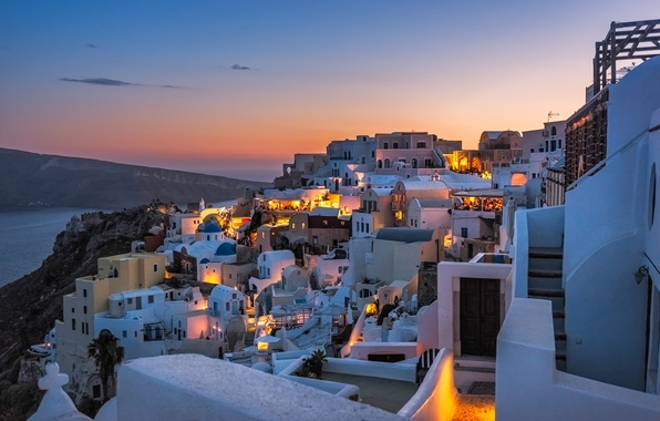 Picture sea, mountains, home, the evening, Santorini, Greece, slope