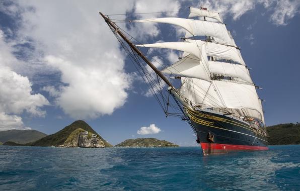 Picture sea, sailboat, sea, sailing ship, сlipper, Stad Amsterdam