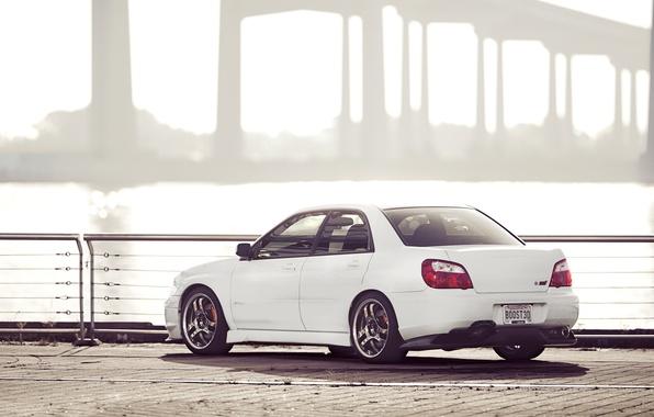 Picture Subaru, Impreza, white, white, STI, Subaru, Impreza