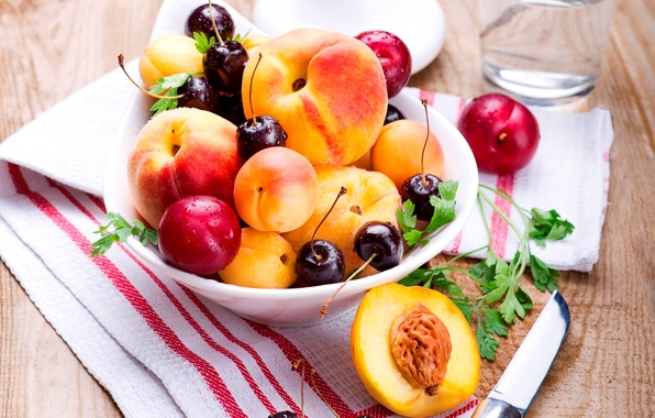 Picture summer, cherry, berries, plate, knife, fruit, peaches, plum, cherry, napkin, apricots