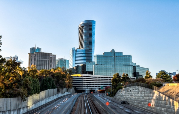 Picture road, the sky, trees, city, the city, HDR, skyscrapers, USA, USA, sky, trees, Georgia, highway, …