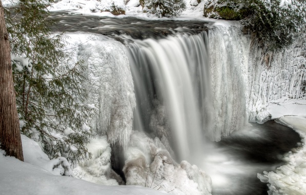 Picture winter, snow, river, waterfall, ice, stream