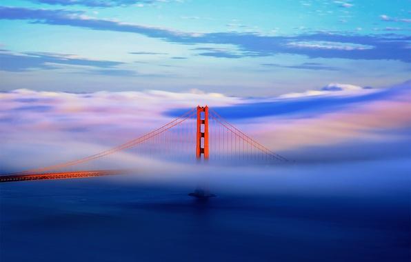 Picture the sky, clouds, bridge, the city, fog, CA, San Francisco, Golden Gate, USA