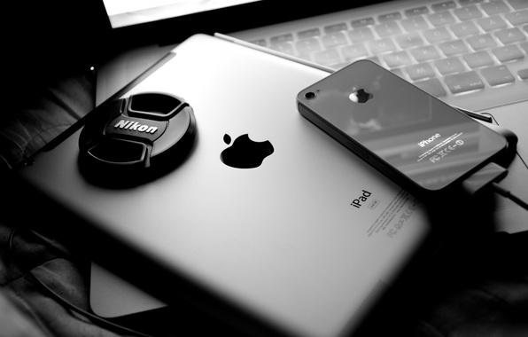 Picture apple, phone, laptop, tablet, display, nikon, macbook pro, ipad 2, iphone 4, iphone 4s