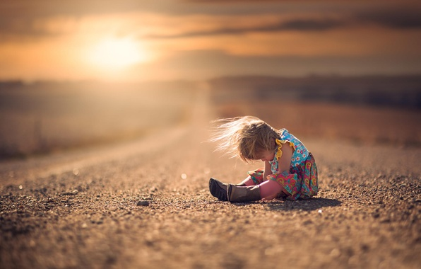 Picture road, the wind, dress, girl, boots, child, bokeh