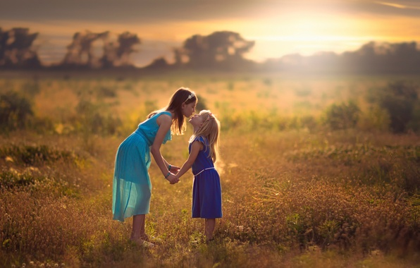 Photo wallpaper children, girls, friendship, Sisters
