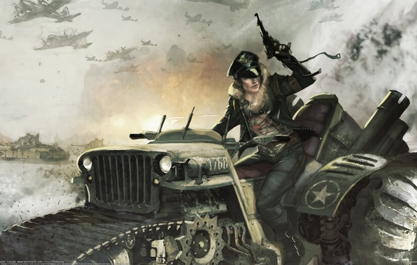 Picture girl, war, jeep, tractor, aircraft, Lamin Martin