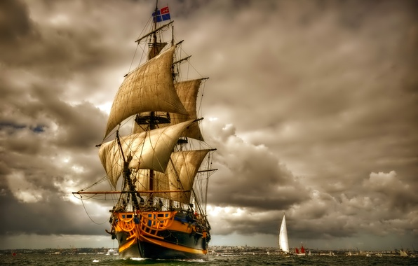 Picture sea, the sky, clouds, boat, ship, sailboat, sail