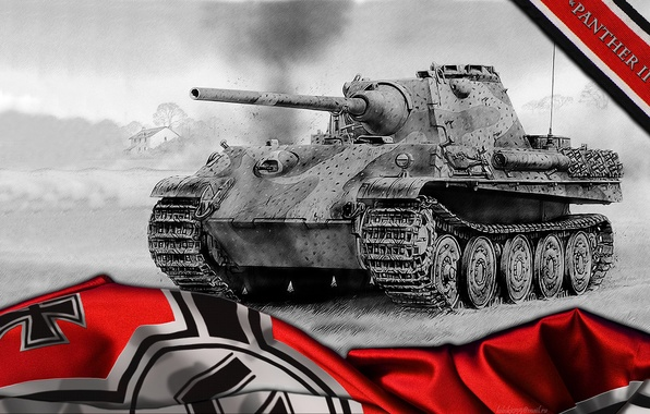 Picture Germany, Panther, art, tank, tanks, WoT, World of Tanks, Panther 2, Panther II