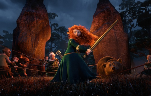Picture cartoon, Scotland, bear, warrior, Archer, Disney, Pixar, Pixar, Princess, bear, red hair, Scotland, the movie, …