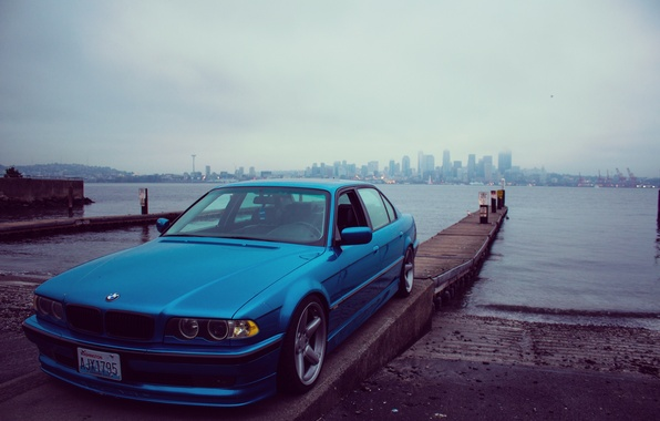 Picture the city, lights, tuning, bmw, BMW, promenade, e38, stance, 750il