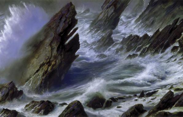 Picture sea, wave, storm, rocks, shore, picture, Donato Giancola
