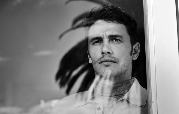 Picture look, glass, face, window, actor, black and white, male, James Franco, James Franco