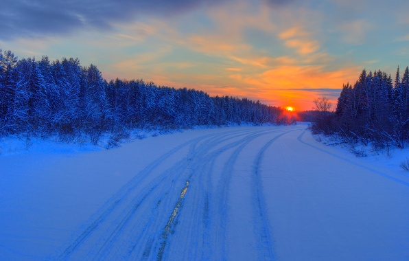 Picture winter, road, forest, the sky, clouds, sunset, glow