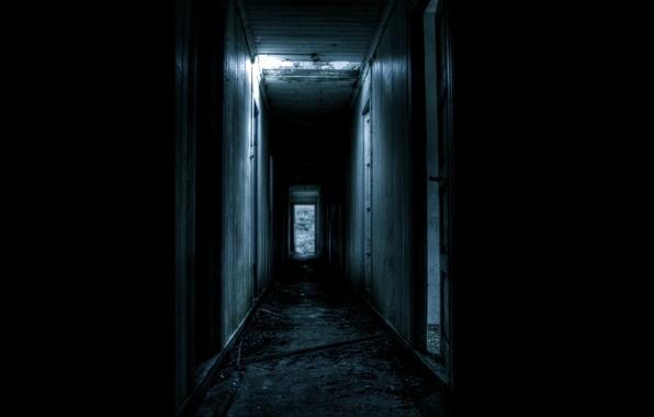 Picture darkness, door, corridor, the ruins, gloomy