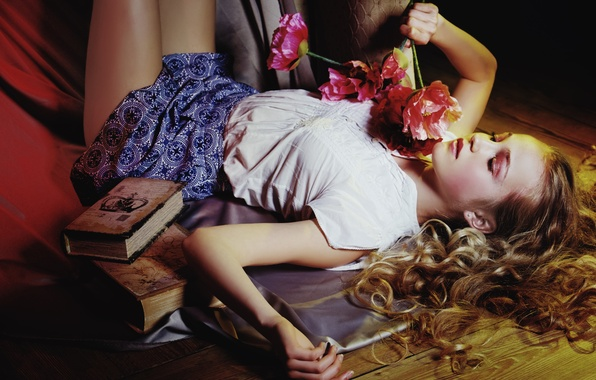 Wallpaper girl, flowers, mood, hair, books