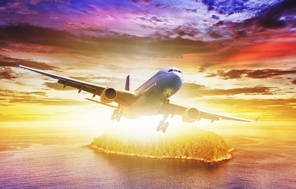 Picture sea, the sky, clouds, island, flight, the plane, liner, brightness