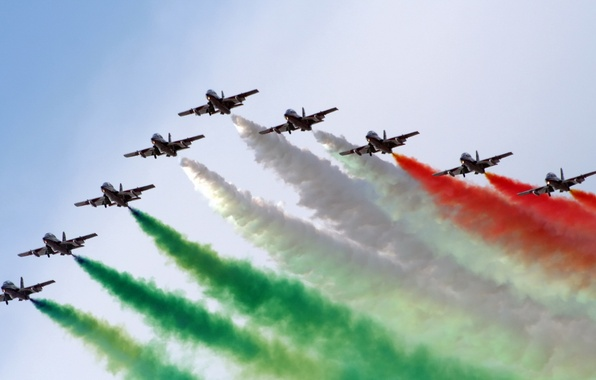 Picture white, red, green, aircraft, air show