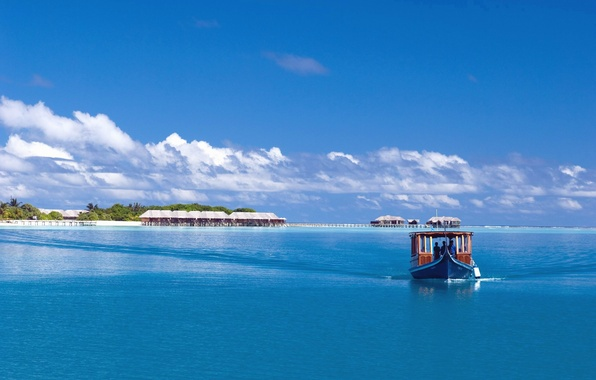Picture sea, the sky, clouds, palm trees, the ocean, boat, island, The Maldives, boat, Bungalow