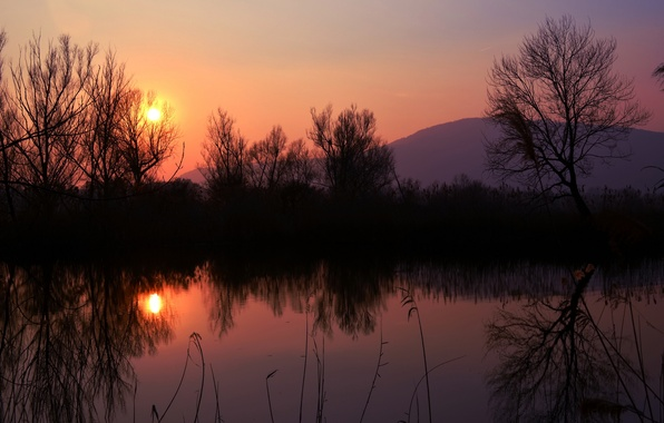 Picture the sky, the sun, trees, sunset, lake, reflection, shore, mountain, The evening, orange