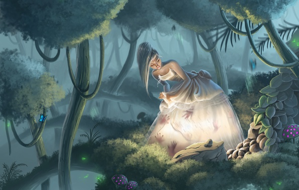Picture forest, water, girl, light, trees, butterfly, reflection, stones, mushrooms, art, white dress, palm