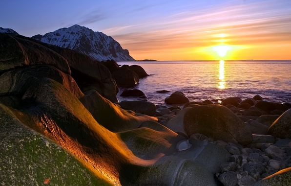 Picture sea, the sun, snow, landscape, sunset, mountains, stones, the evening, nature.
