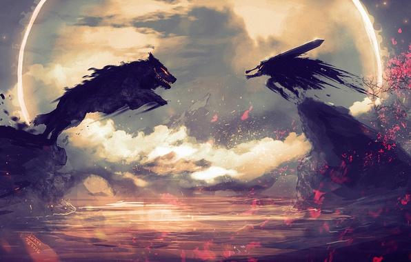 wallpaper sword  anime  art  wolf  berserk  rage  guts images for desktop  section  u043f u0440 u043e u0447 u0435 u0435