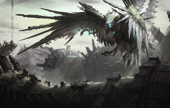 Picture fiction, bird, people, mechanism, wings, art, hero, ruins, cyberpunk